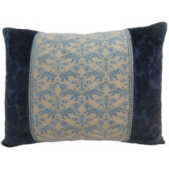"Vintage Fortuny ""Richelieu"" Blue on Silver Decorative Bolster Pillow"