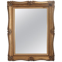 Oversized Antique French Giltwood over Mantel Mirror, 19th Century
