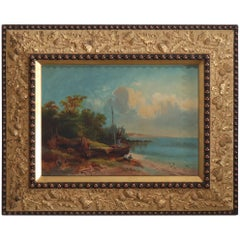 Antique Italian Oil on Canvas of Harbor with Sailboat & Figures, Signed