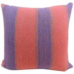 Large Floor pillow in blue and red Woven Stripes