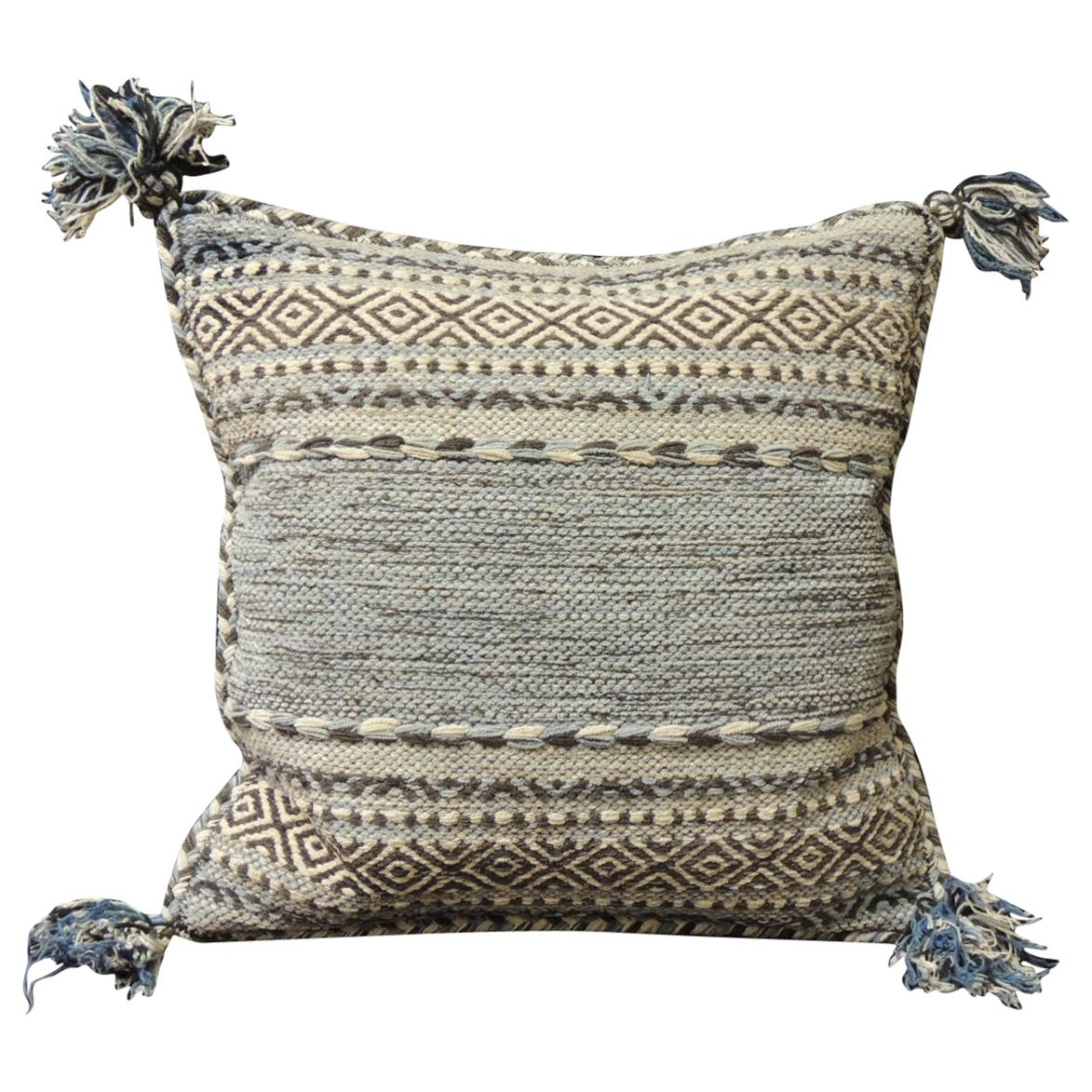 Woven Blue and Dark Grey Decorative Pillow with Tassels