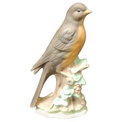 Vintage Hand Painted Song Bird Porcelain Figurine on Tree Trunk