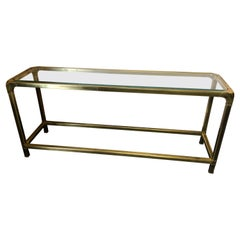 Chic Mastercraft Mid-Century Modern Brass and Glass Console or Sofaback Table