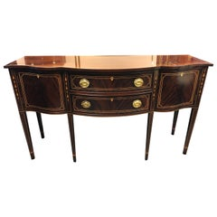 Magnificent Mahogany Stickley Serpentine Sideboard with Satinwood Inlay