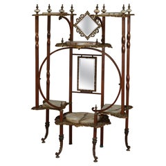 Antique French Victorian Gilt, Onyx & Brass Mirrored 6-Stage Étagère, circa 1880