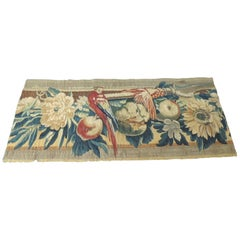 18th Century Red and Blue Aubusson Tapestry Panel