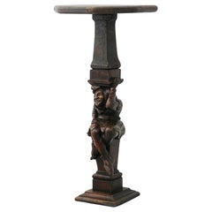 19th Century Pedestal Stand Figural Hand Carved French Provincial Sculpture