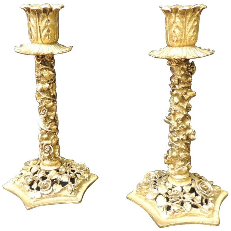 Vintage Pair of Gold Candlesticks with Elaborate Roses and Flowers For Sale