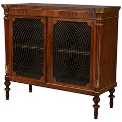 Antique English Regency Style Rosewood, Mesh and Gilt Two-Door Credenza