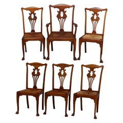 Set of 6 Antique French Louis XIV Carved Mahogany Rush Seat Dining Chairs