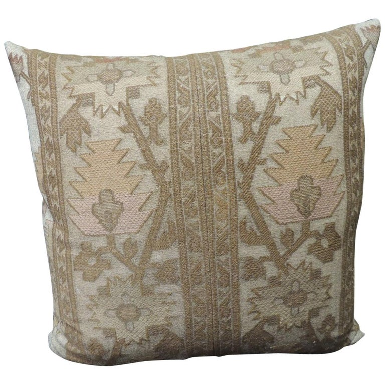 19th Century Gold Turkish Embroidery Throw Pillow For Sale