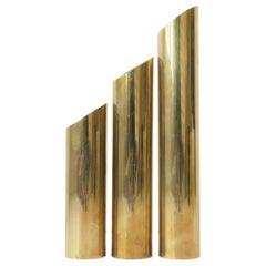 Set of '70s Modern Brass Cylindrical Sculptures