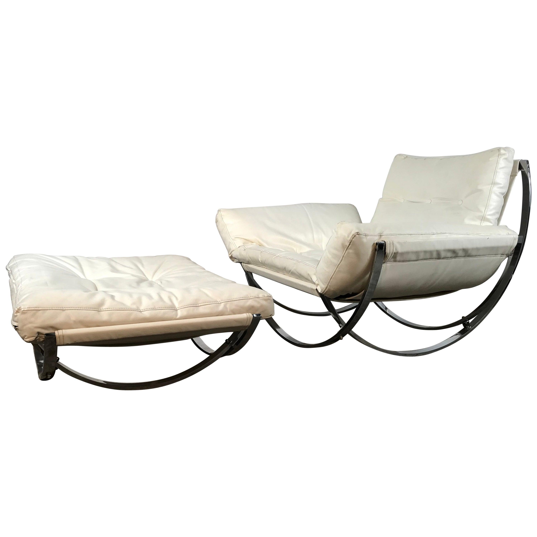 "Chrome & Naugahyde ""Apollo"" Chair and Ottoman by Lennart Bender for Charlton"