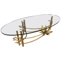 Brutalist Gilt Lotus Coffee Table Oval Glass