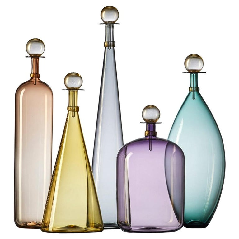 Group of 5 Modernist Hand Blown Glass Bottle Vases in Smoky Colors by Vetro Vero For Sale