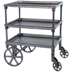 Vintage Industrial Three-Tier Table Rolling Bar Cart