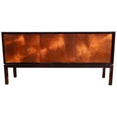 Unique and exquisite Copper Paneled Ebonized Modernist Credenza