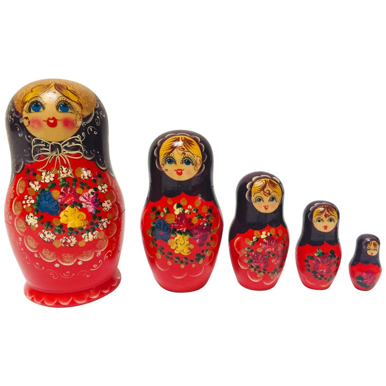 Hand Painted and Carved Nesting Matryoshka Russian Dolls For Sale