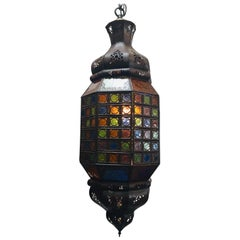 Moroccan Handcrafted Light Fixture with Multi-Color Moorish Glass