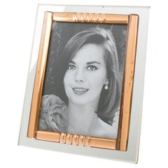 French Midcentury Clear and Copper Pink Mirror Picture Photo Frame