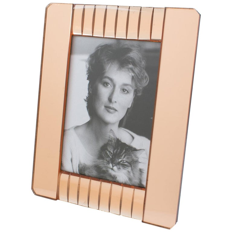 1940s French Copper Pink Mirror Large Picture Photo Frame For Sale
