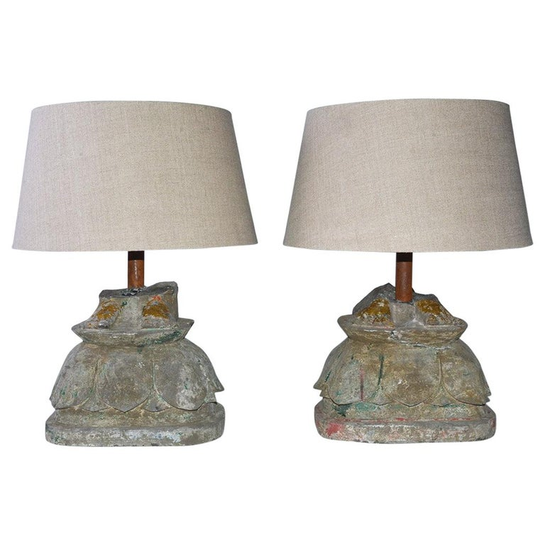 Antique Stone Base Lamps, Feet of Buddha Statues For Sale