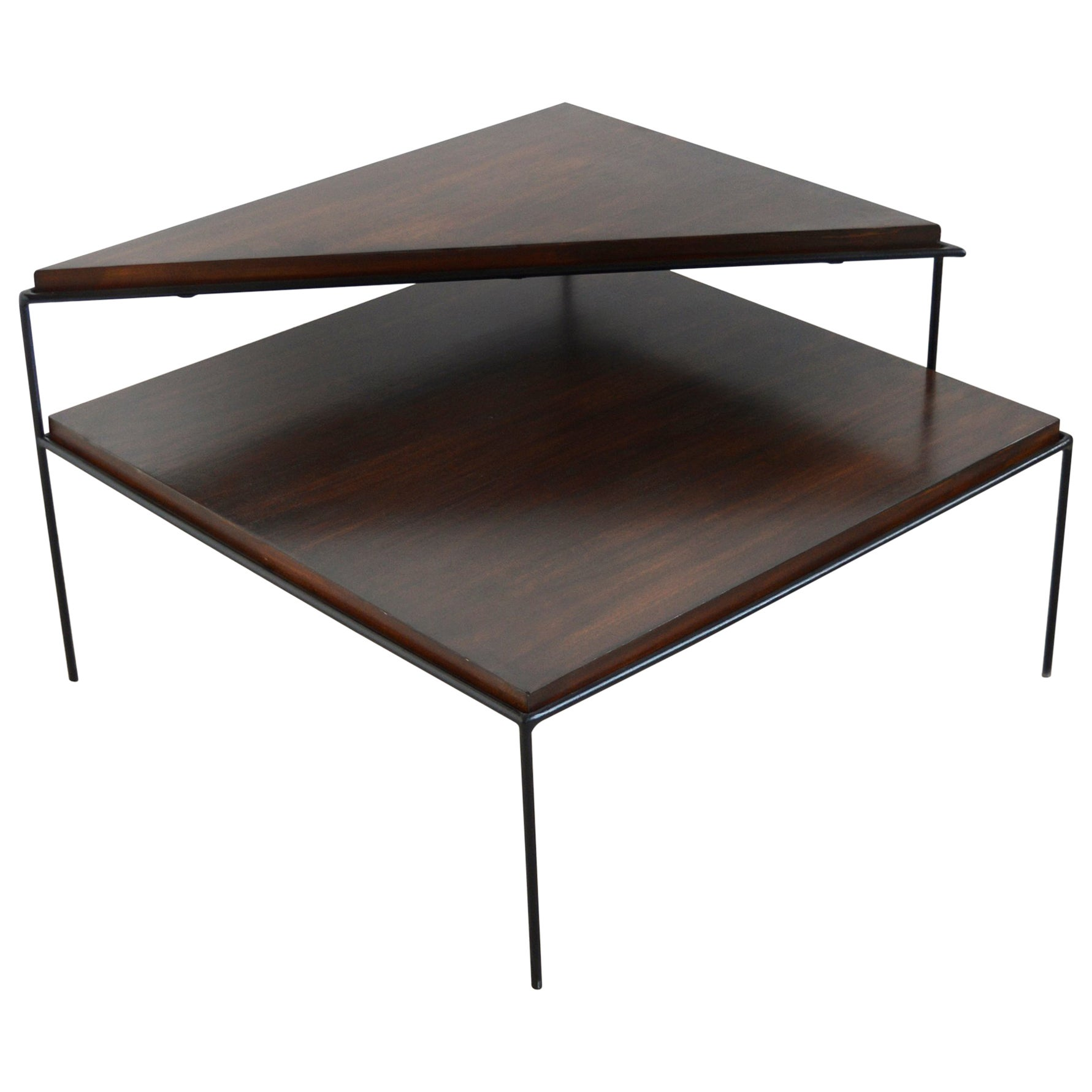 Paul McCobb Two-Tier Corner Table with Iron Frame