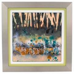 George F Welch Modern Abstract Enamel Copper Judaica Artwork Wall Panel Painting