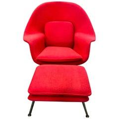 Original Eero Saarinen Womb Chair and Ottoman or Foot Stool for Knoll