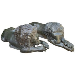 Pair of Reclining Bronze Garden Lions