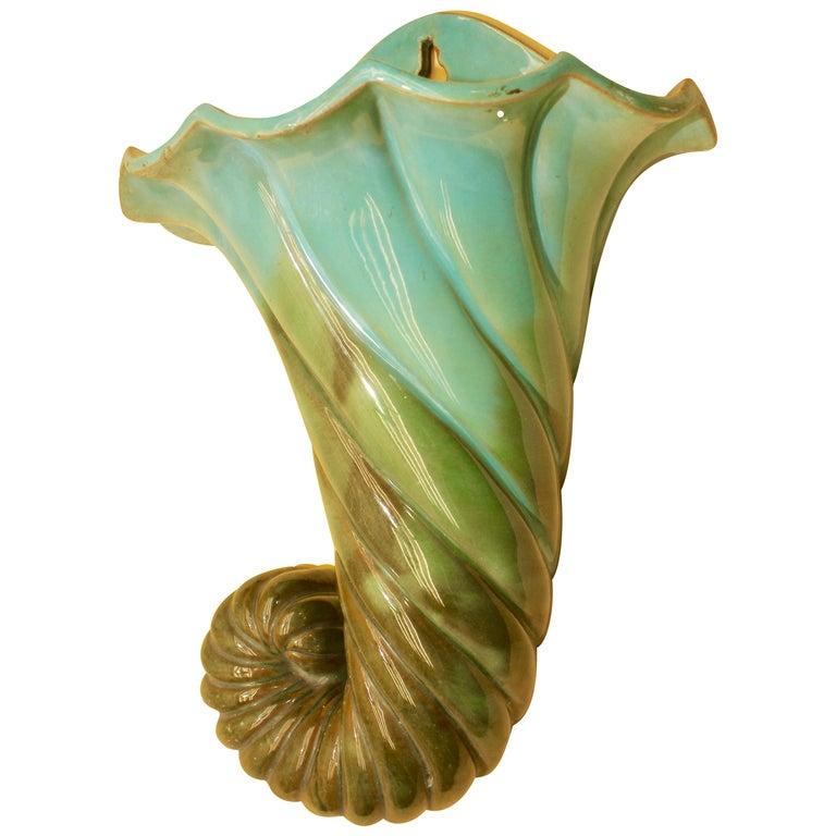 Art Nouveau Majolica Glazed Flower Vase Wall Model with Suspension For Sale