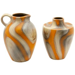 Dumler and Breiden Pieces of Pottery, Mark on the Bottom, Germany, circa 1955