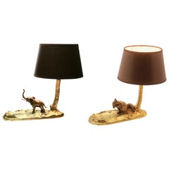 2 Vintage Bronze Table Lamps and Coin Dish 'Vide Poche' with Squirre, Elephant