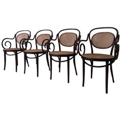 ZPM Radomsko, Former Thonet, No. 11 Bentwood and Rattan Dining Room Chairs