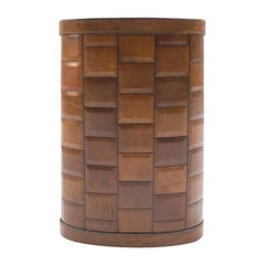 Vintage Umbrella Stand in Leather Patchwork, France, 1960s