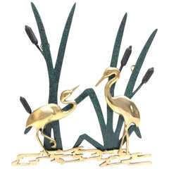 Landscape Crane Birds Bronze and Brass Wall Decoration Vintage, 1960s