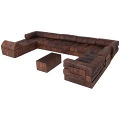 De Sede DS88 Modular Brown-Cognac Leather Patchwork Sofa