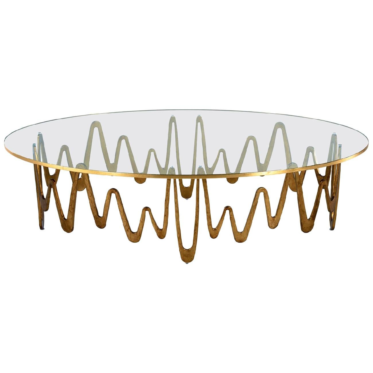 Coffee Table with Hammered Base Bronze or Silver Finish Toughtened Glass Top