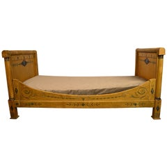 Austrian Neo Classical Day Bed Yellow with Classical Painted Scenes, circa 1820