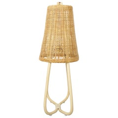French Design Rattan and Wicker Large Table Lamp