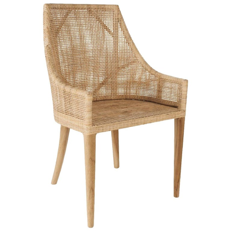 Handcrafted Braided Rattan and Wooden Base French Design Armchair