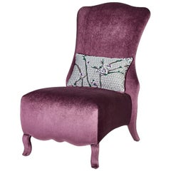 Armchair Down Feaher Backrest Leather or Fabric Upholstered Legs