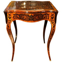 19th Century Napoleon III Rosewood France Flap Table Inlaid, 1870s
