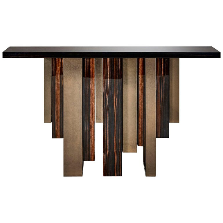 Console with Polished Ebony and Champagne Liquid Metal Finish Legs Top in Ebony For Sale