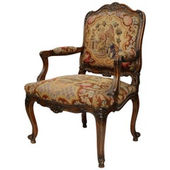 Large Louis XV Style French Fauteuil 'Open Armchair,' circa 1860