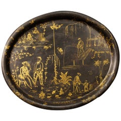 19th Century Lacquered and Painted Chinoiserie Metal French Tray, 1890