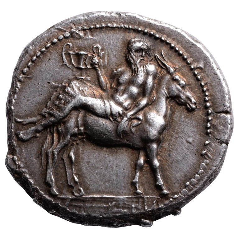 Magnificent Ancient Greek Silver Coin with Drunken Dionysus, 460 BC For Sale