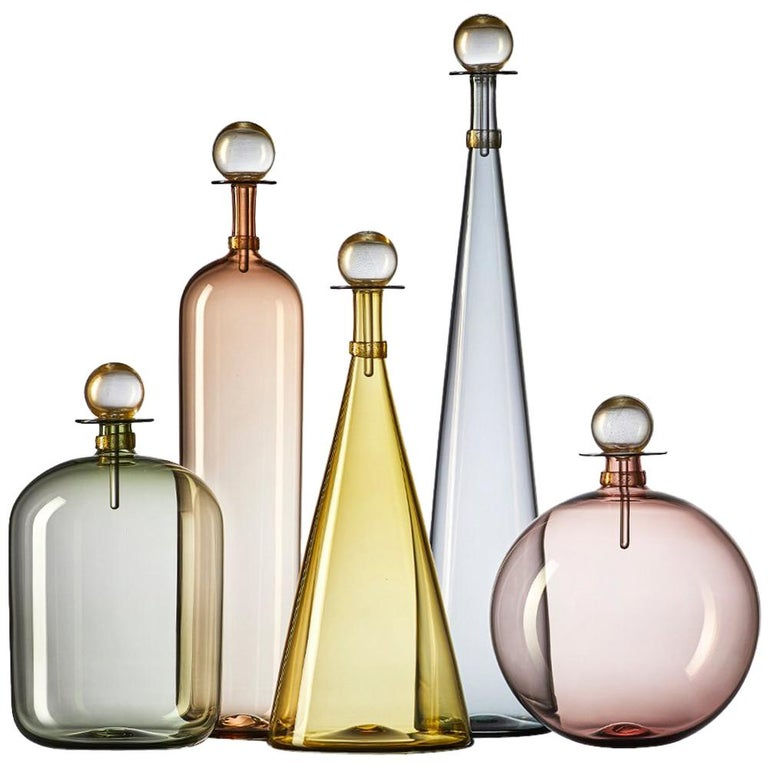 Collection of 5 Large Hand Blown Glass Carafes in Smoke Colors by Vetro Vero For Sale