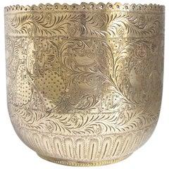Indian Engraved Brass Jardiniere Planter