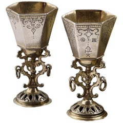 Engraved Silver and Parcel-Gilt Cups, German, circa 1630